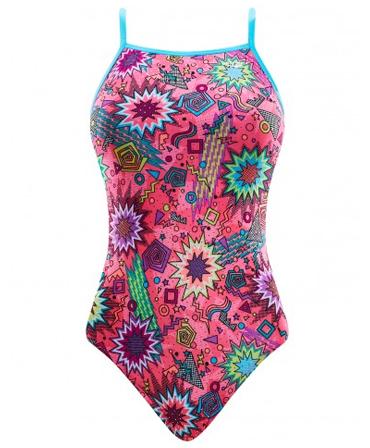 The Finals 'Funnies' Girls Dynamite Foil Flutter Back Swimsuit