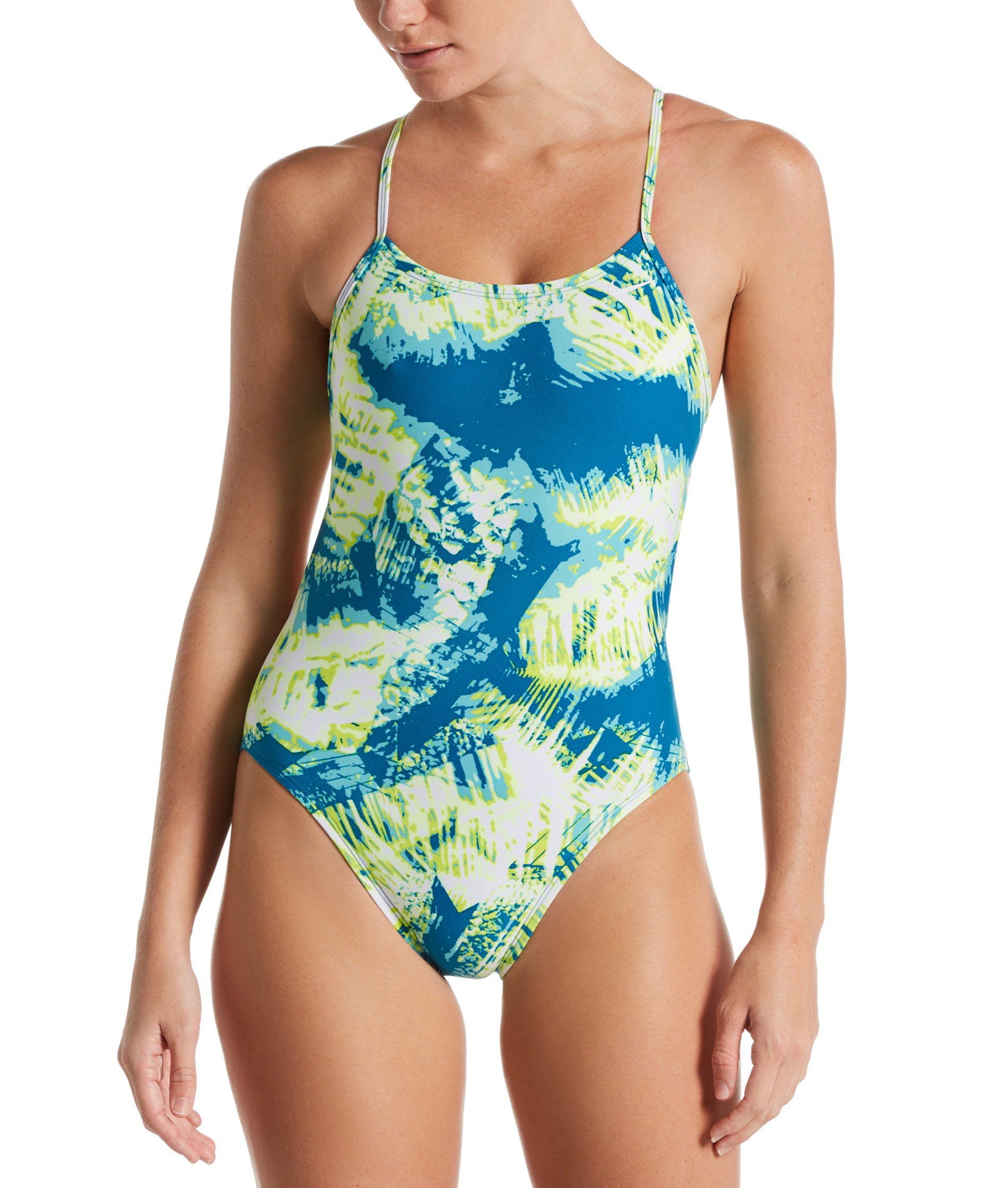 Nike Swim Ladies Solar Canopy Modern Cut-Out One Piece - Green Abyss