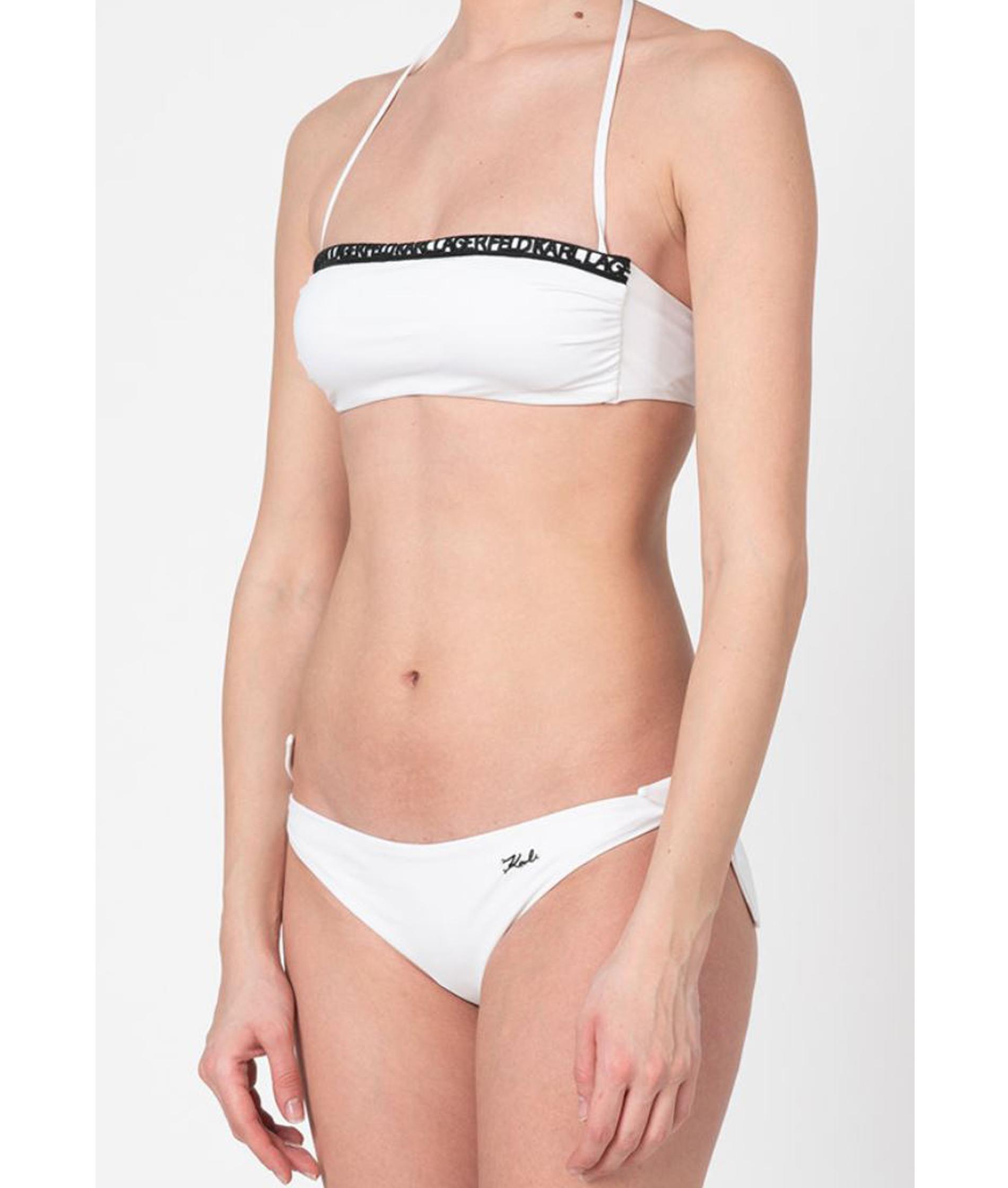 Karl Lagerfeld Womens Sangallo Bandeau Bikini - White