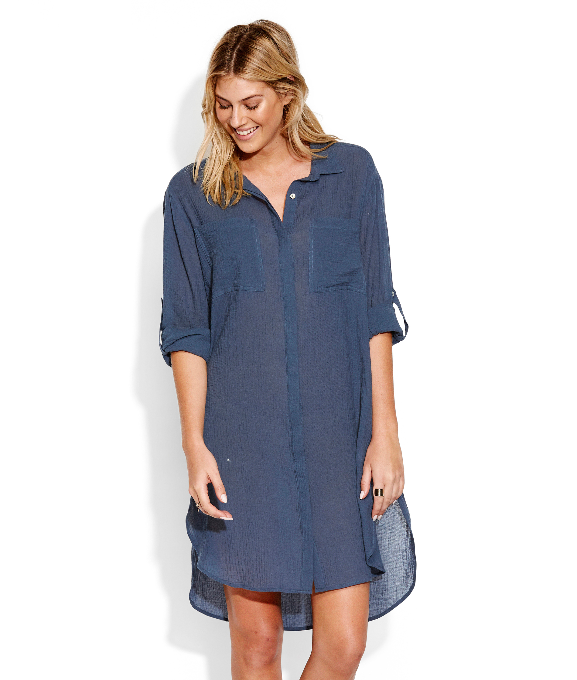 Seafolly Crinkle Twill Beach Shirt - Blueprint