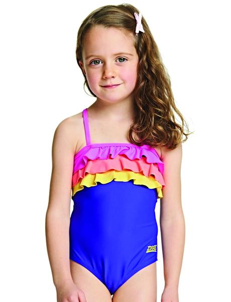 Zoggs Girls Jungle Fun Tie Back Swimsuit