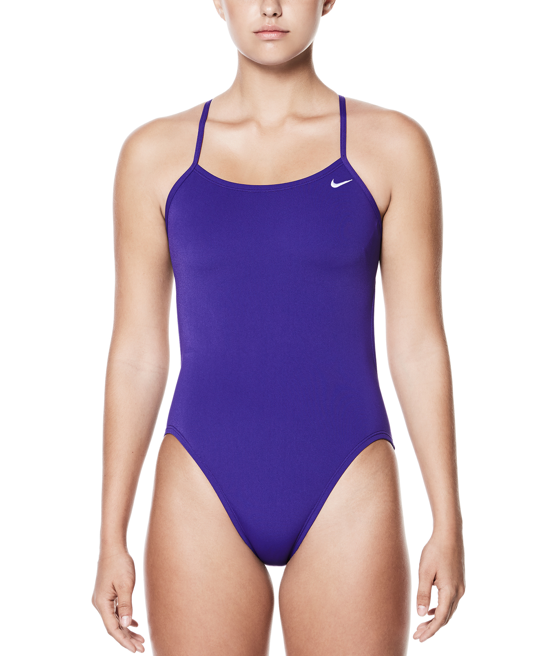 Nike Swim Womens Poly Solid Cut-Out One Piece - Court Purple