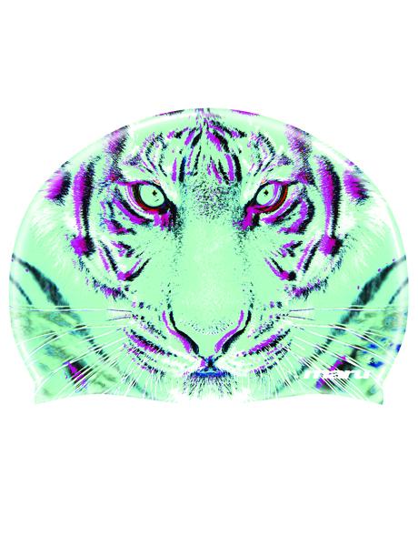 Maru Tigers Eye Printed Silicone Swim Cap
