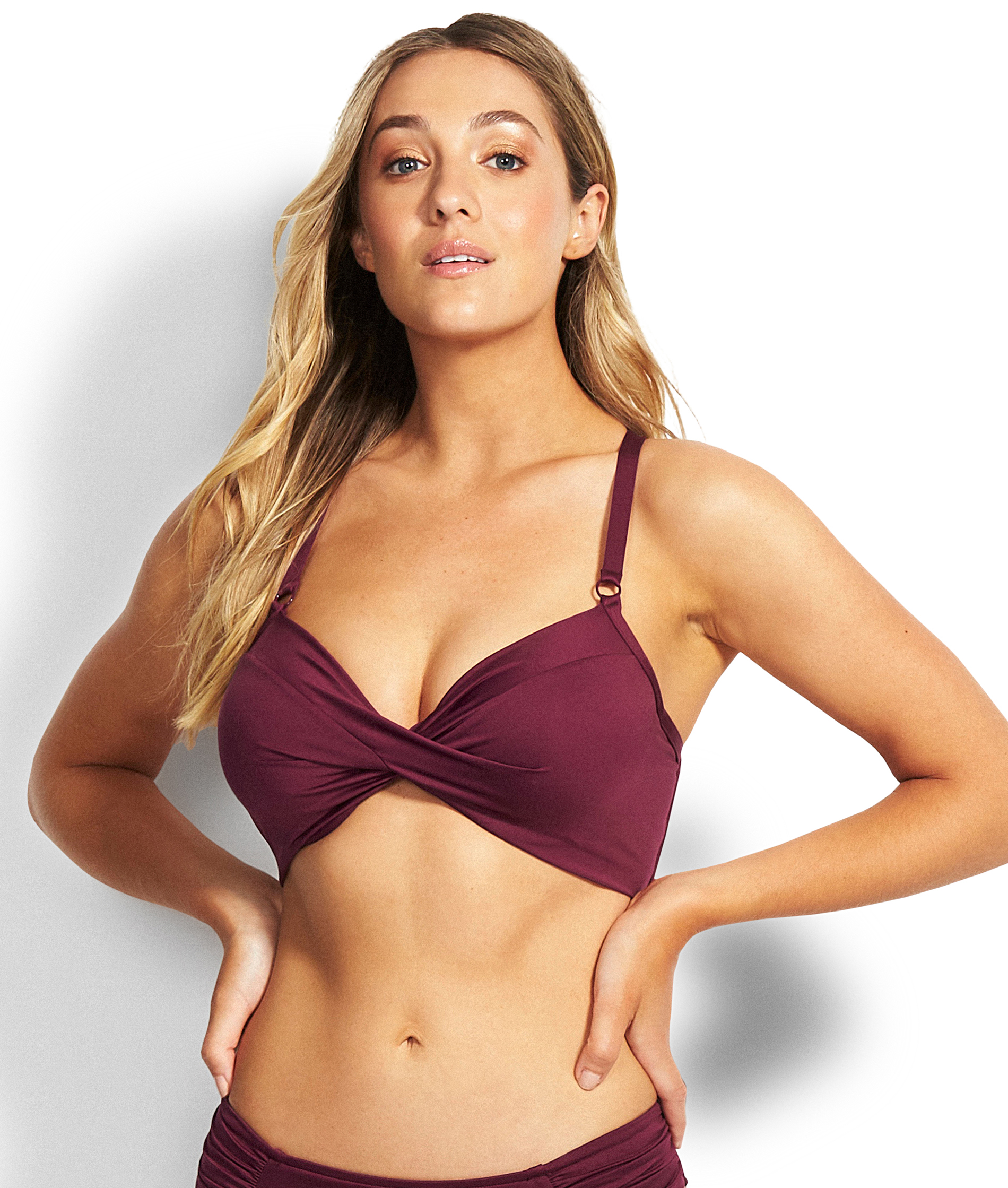 Seafolly Ladies DD Twist Front Bikini Top - Boysenberry