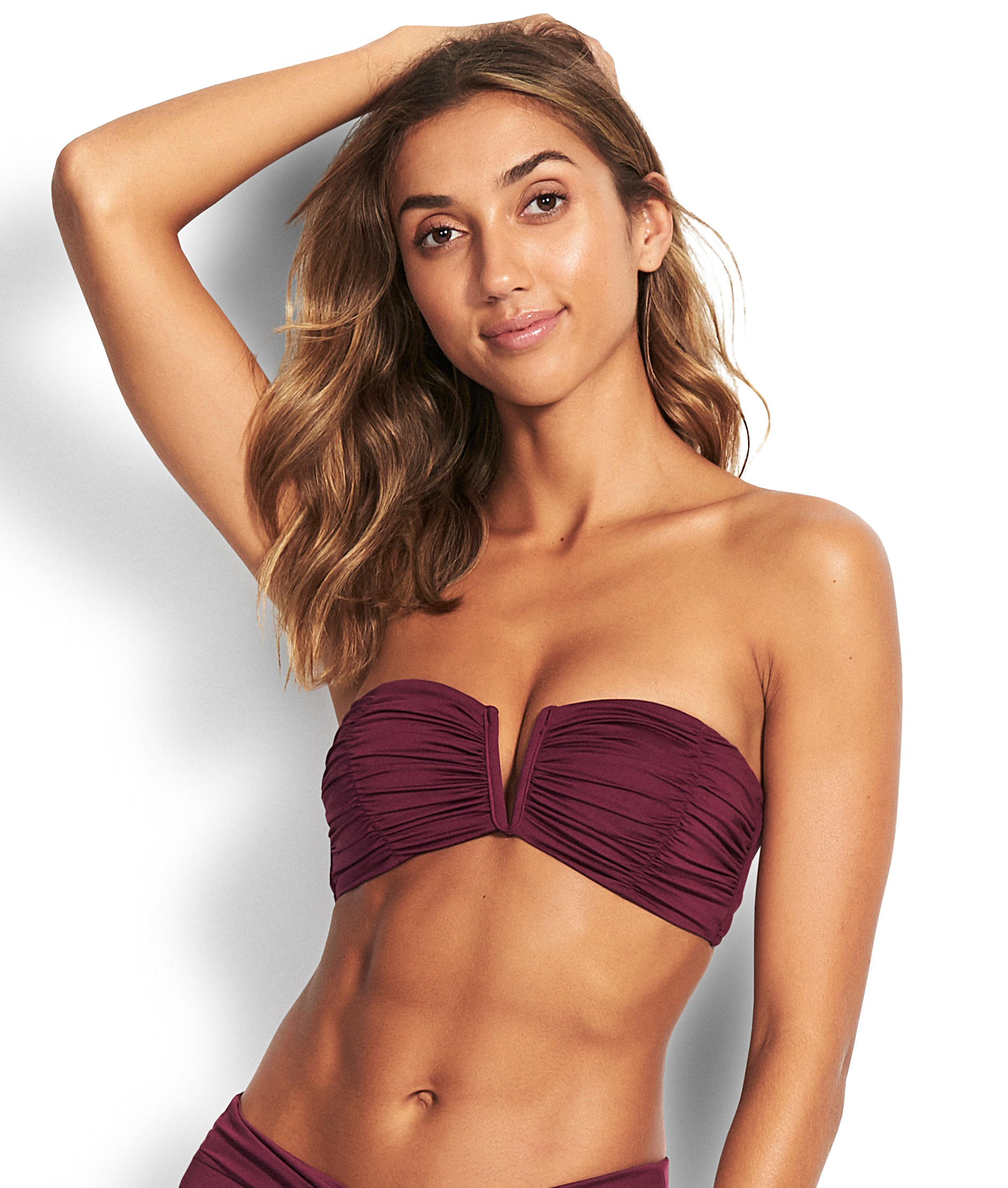 Seafolly Ruched Bandeau Bikini Top - Boysenberry