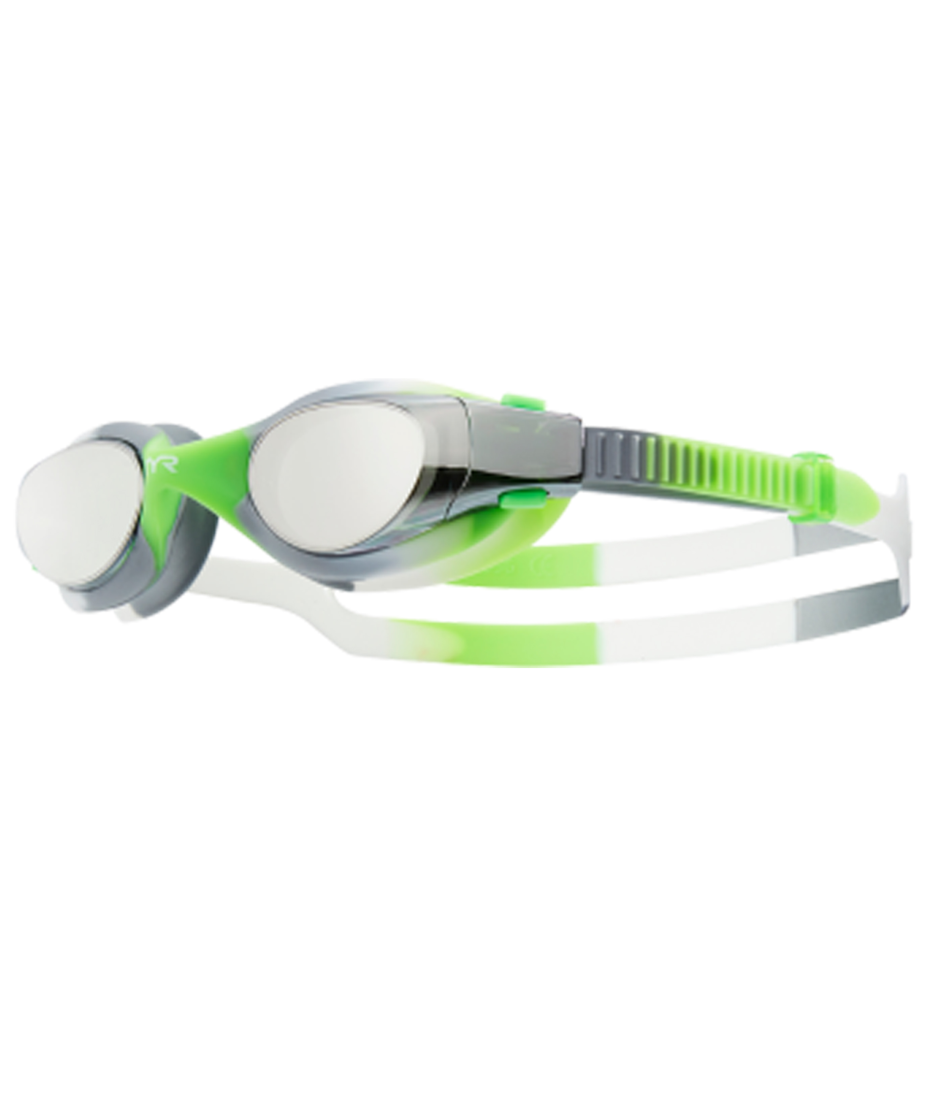 TYR Vesie Mirrored Youth Tie Dye Goggles - Lime/Grey/White