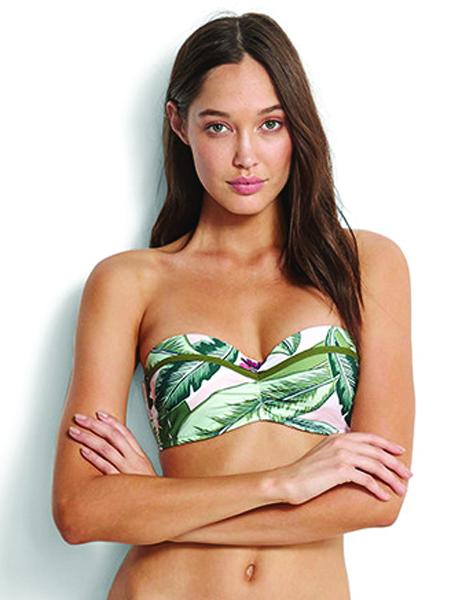 Seafolly Palm Beach Bustier Bandeau Bikini Top - Moss