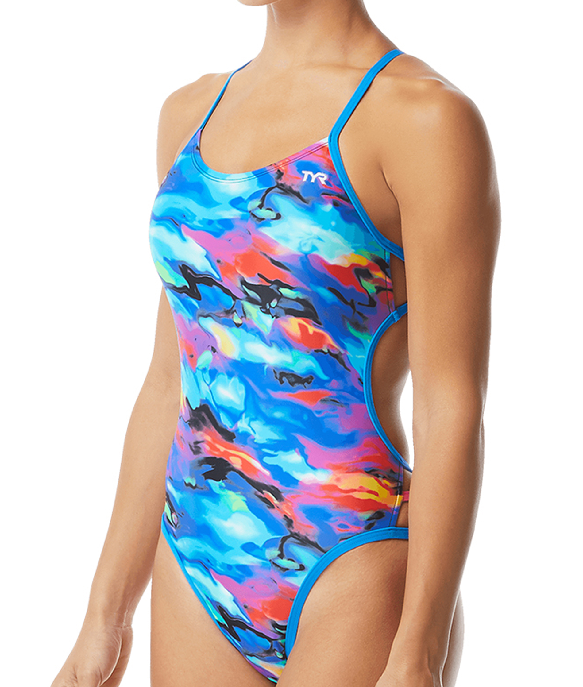 TYR Ladies Synthesis Mojave Cutoutfit Swimsuit - Blue/Multi