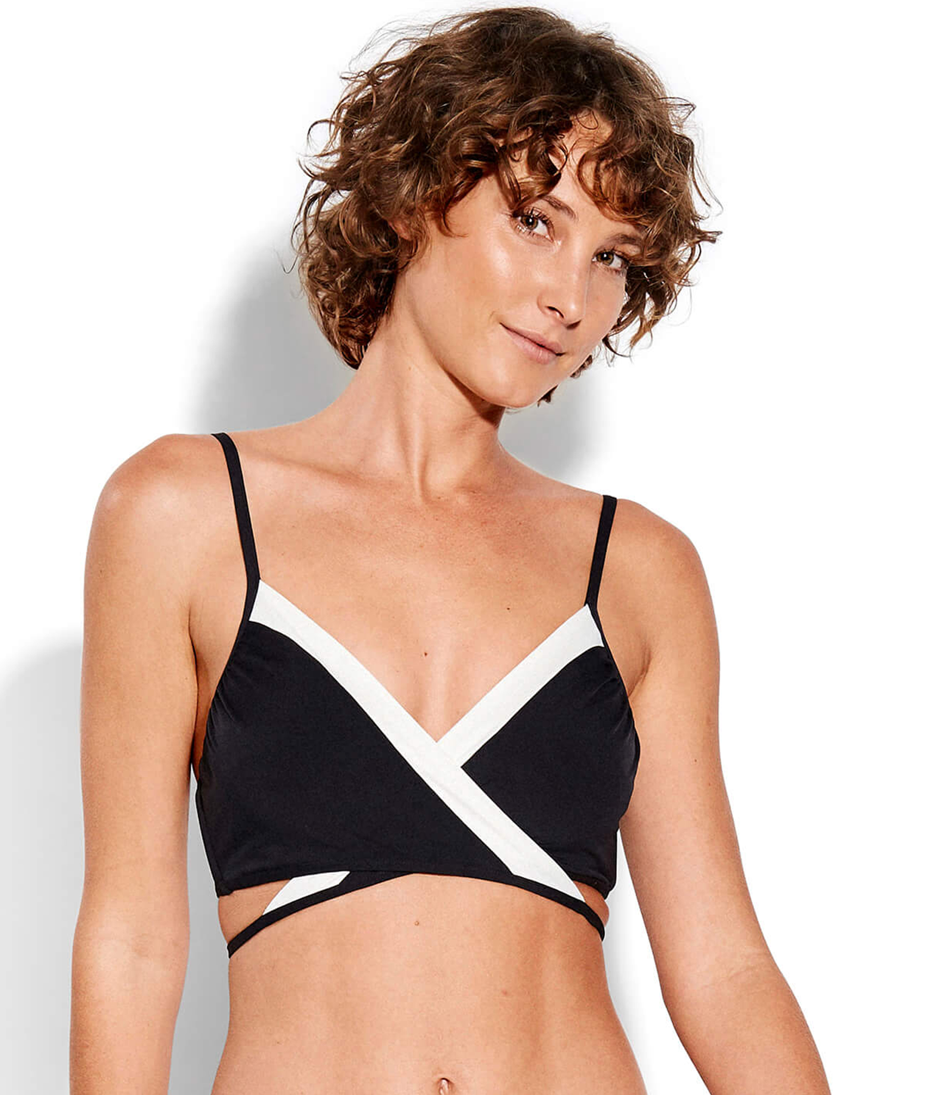 Seafolly Ladies Pop Block Wrap Front Booster - Black/Vanilla