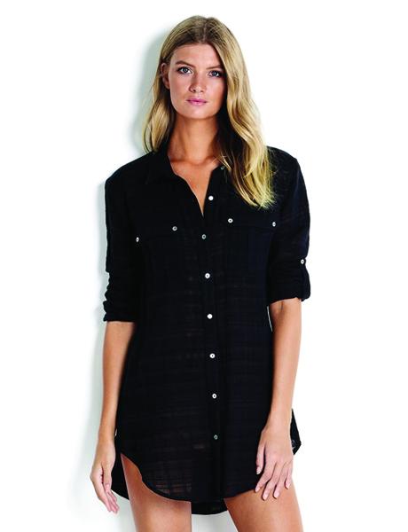 Seafolly Textured Dobby Stripe Shirt - Black
