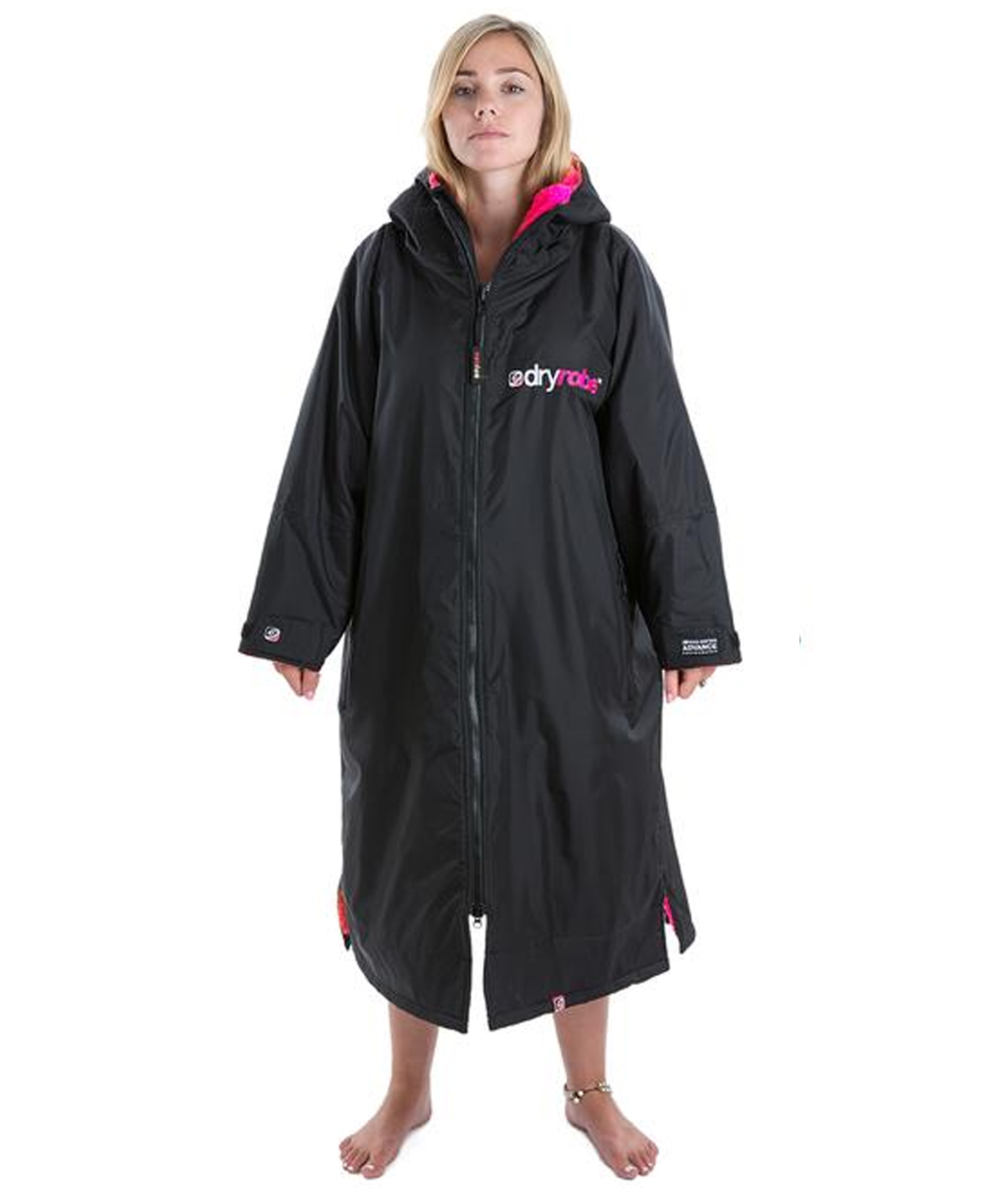 Dryrobe Advance Long Sleeve Black/Pink - Medium