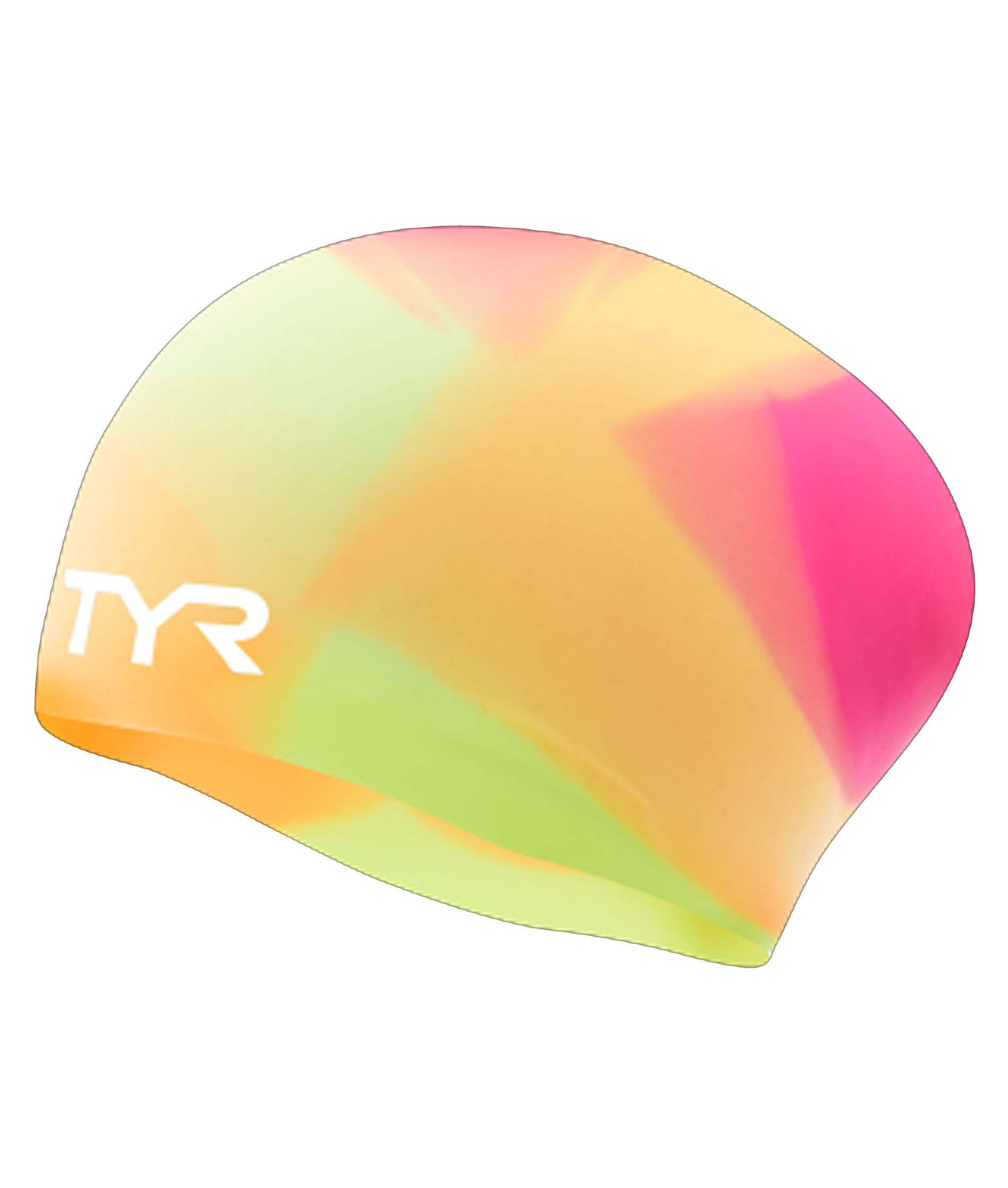 TYR Tie Dye Long Hair Silicone Youth Swim Cap - Pink/Yelloe/Orange