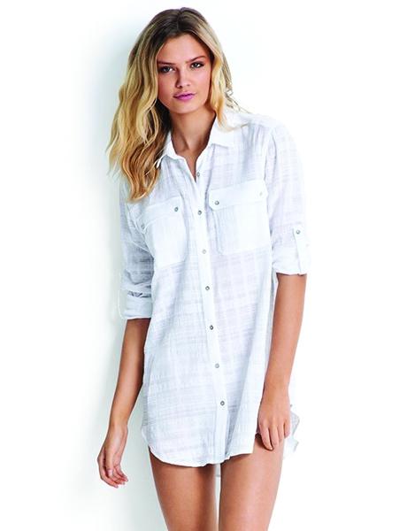 Seafolly Textured Dobby Stripe Shirt - White