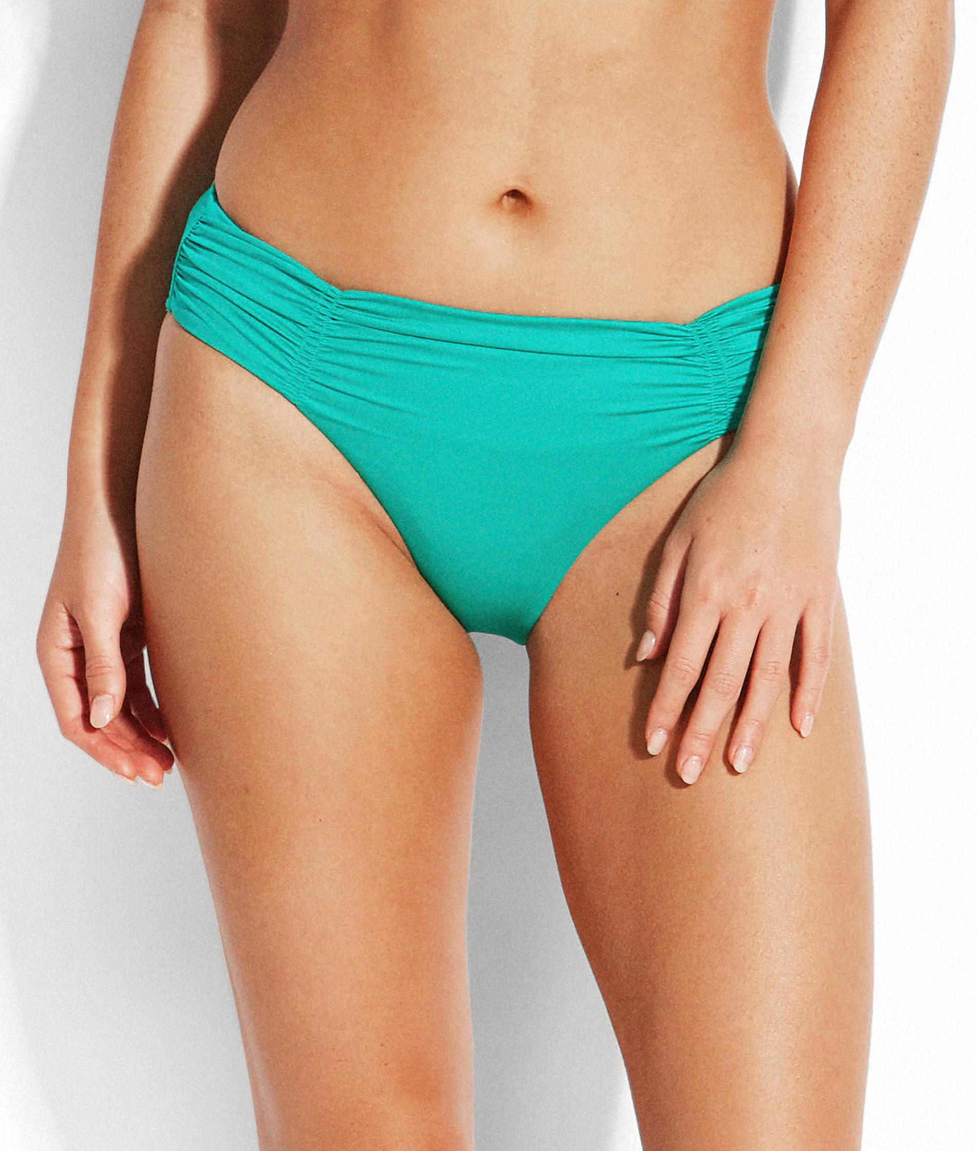 Seafolly Shine On Evergreen Gathered Front Retro Bikini Pant
